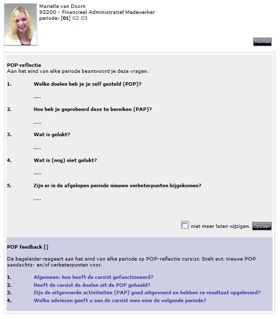 feedback formulier reageert de begeleider en doet suggesties voor een